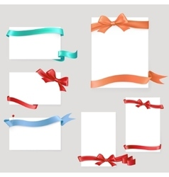 Set of paper form with satin ribbons and bows vector image vector image