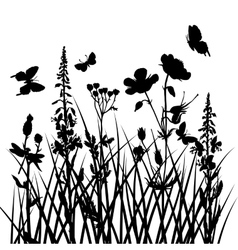 Silhouettes of flowers and grass with vector