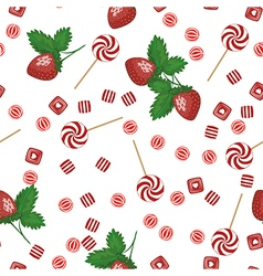 Strawberry lollipops candy and chewing gum seamles vector
