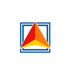 triangle color square arrow logo vector image vector image