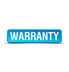 Warranty blue 3d realistic square isolated button vector