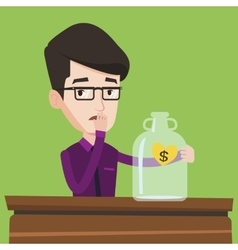Worried businessman looking at empty glass jar vector