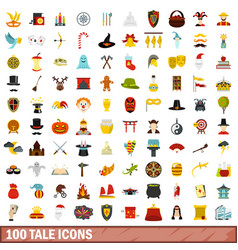 100 tale icons set flat style vector image