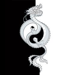 Oriental Dragon Yin Yang vector image