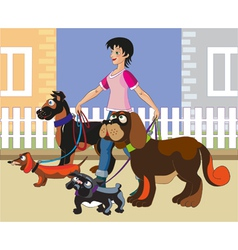 Walking of dogs vector
