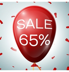 Red baloon with 65 percent discounts sale concept vector