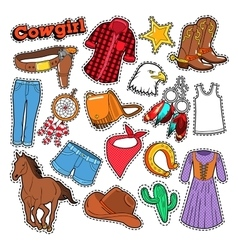 Cowgirl doodle for scrapbook stickers patches vector