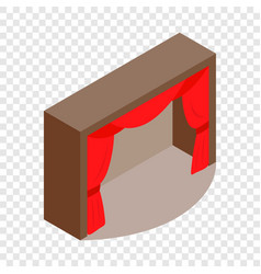 Theater stage with a red curtain isometric icon vector
