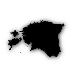 Map of estonia with shadow vector