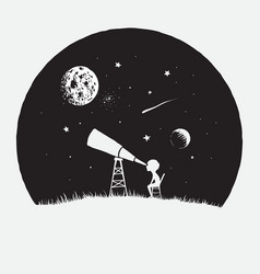 Little boy looks to through a telescope to space vector