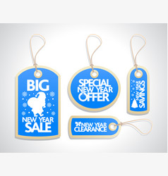 New year sale tags set blue vector