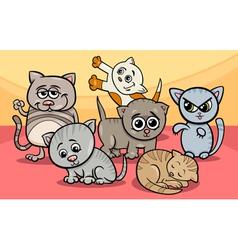 cute kittens group cartoon vector image