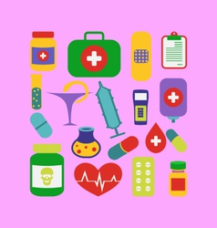 Set trendy flat medical icons - vector