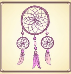 Sketch dream catcher in vintage style vector