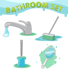 Bathroom symbol icon set d vector
