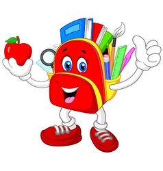 Happy bag giving thumb up with apple vector