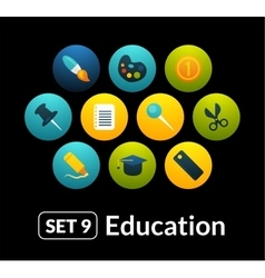Flat icons set 9 - education collection vector