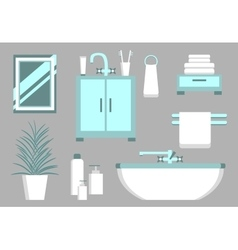 Bathroom flat elements vector