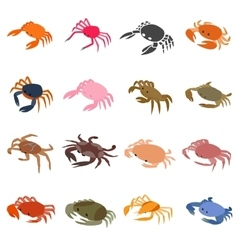 Crab icons set isometric 3d style vector