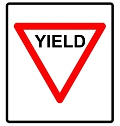a yield road sign vector image vector image