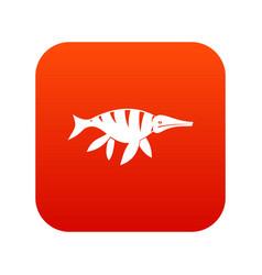 aquatic dinosaur icon digital red vector image vector image