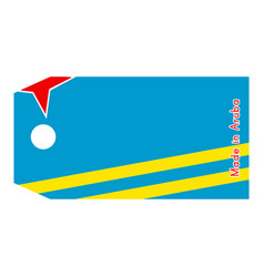 Aruba flag on price tag with word made in aruba vector