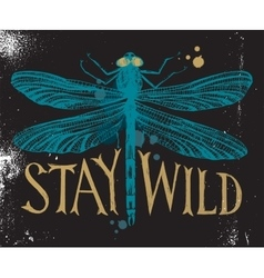 Background with dragonfly and hand drawn lettering vector image