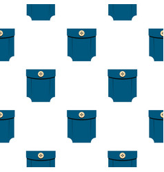 Blue shirt pocket with button pattern flat vector