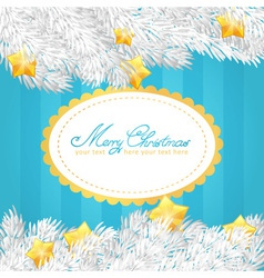 Christmas tree stars invitation golden card vector image