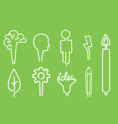 Creative idea icons cartoon flat brainstorm vector