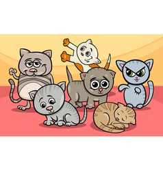 cute kittens group cartoon vector image vector image