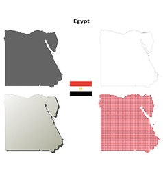 Egypt outline map set vector