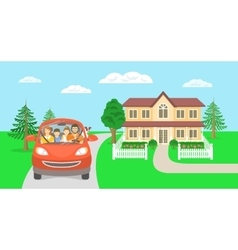 Family summer vacation trip background with house vector