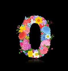 Fun number of fancy flowers on black background 0 vector