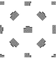 Houses pattern seamless black vector