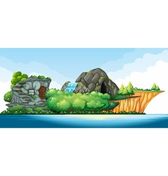 Island in the middle of the ocean vector image