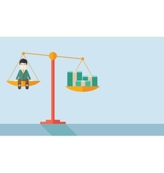 Japanese Businessman on a balance scale vector image