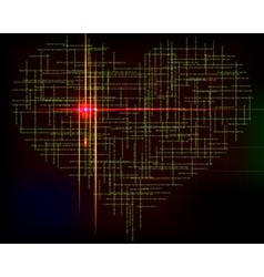 Matrix heart-abstract background with green vector