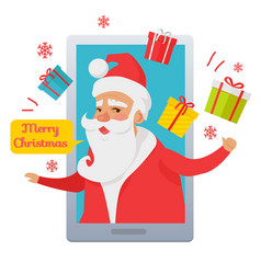 Merry christmas santa claus inside cellphone vector