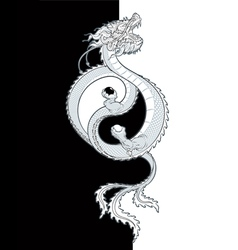 Oriental dragon yin yang vector