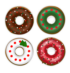 set of donuts with a christmas tree vector image vector image
