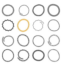 Set of hand drawn circle frames in ethnic style vector