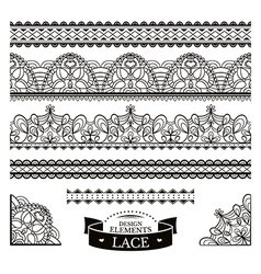 Set of lace patterns vector