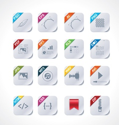 simple square file labels icon set vector image vector image