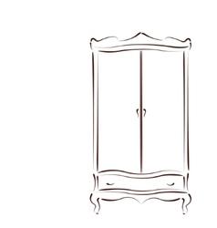 Sketched vintage wardrobe vector image vector image