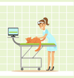 smiling female veterinarian examining cat in vet vector image vector image