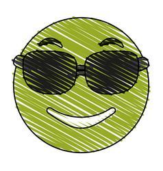 Smiling sunglasses emoji icon image vector
