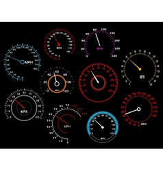 Speedometers set vector image