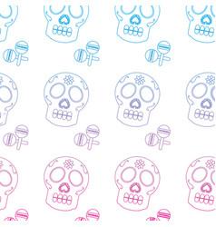 Sugar skull and maracas mexico culture pattern vector