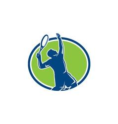 Tennis player racquet serving oval retro vector